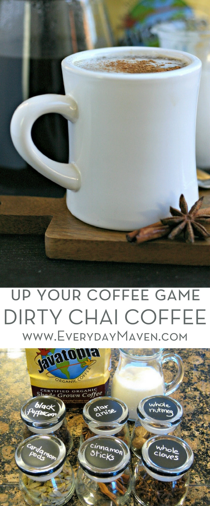 My Dirty Chai Coffee Recipe combines freshly ground Chai Tea spices with brewed coffee to make one of the most aromatic and flavorful cups of Joe! Made in partnership with Fred Meyer