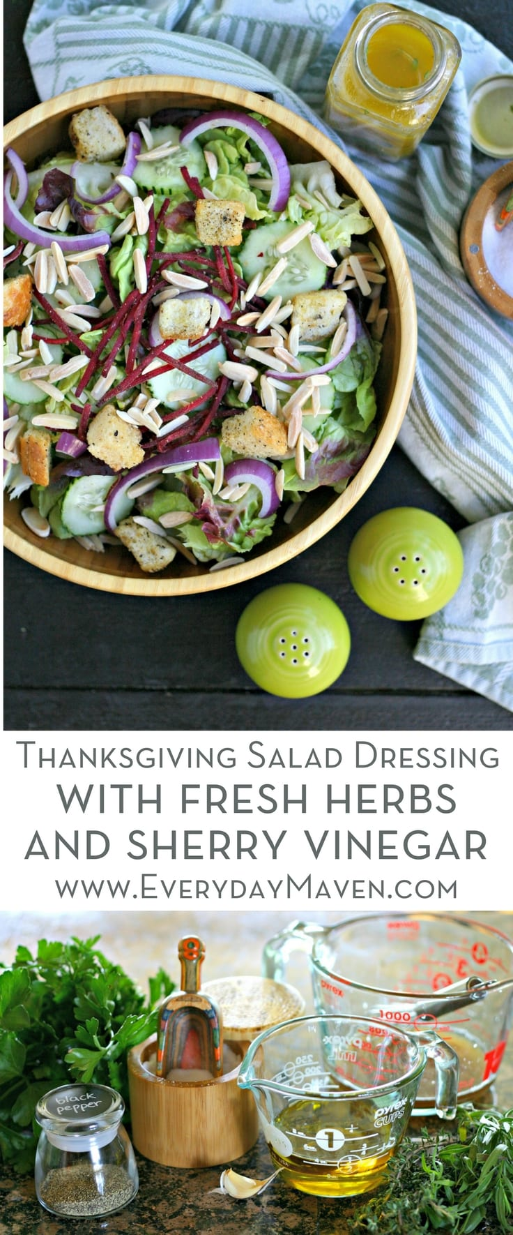 This Thanksgiving Salad Dressing with Fresh Herbs and Sherry Vinegar will wow all of your guests and add so much flavor to your holiday salad! Sponsored by @oliveoilsspain