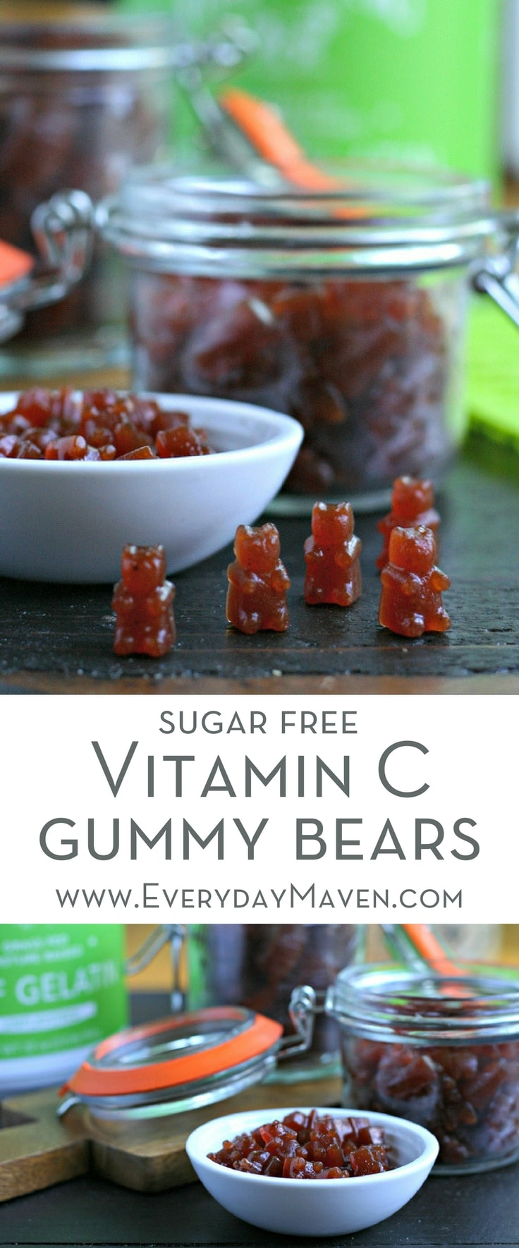 These Sugar Free Vitamin C Gummy Bears are the perfect way to give your immune system a boost during sick season. Perfect for little and big kids alike!