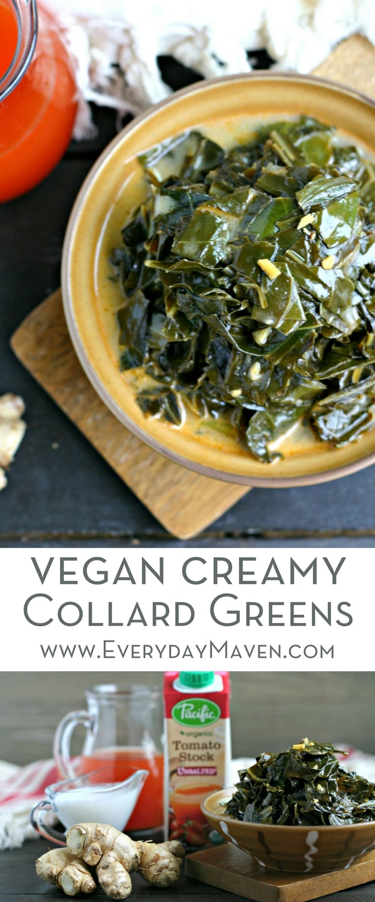 Creamy Vegan Collard Greens with Tomato Stock, Ginger and Coconut. An easy and flavor-packed side dish that is naturally gluten free and low carb!