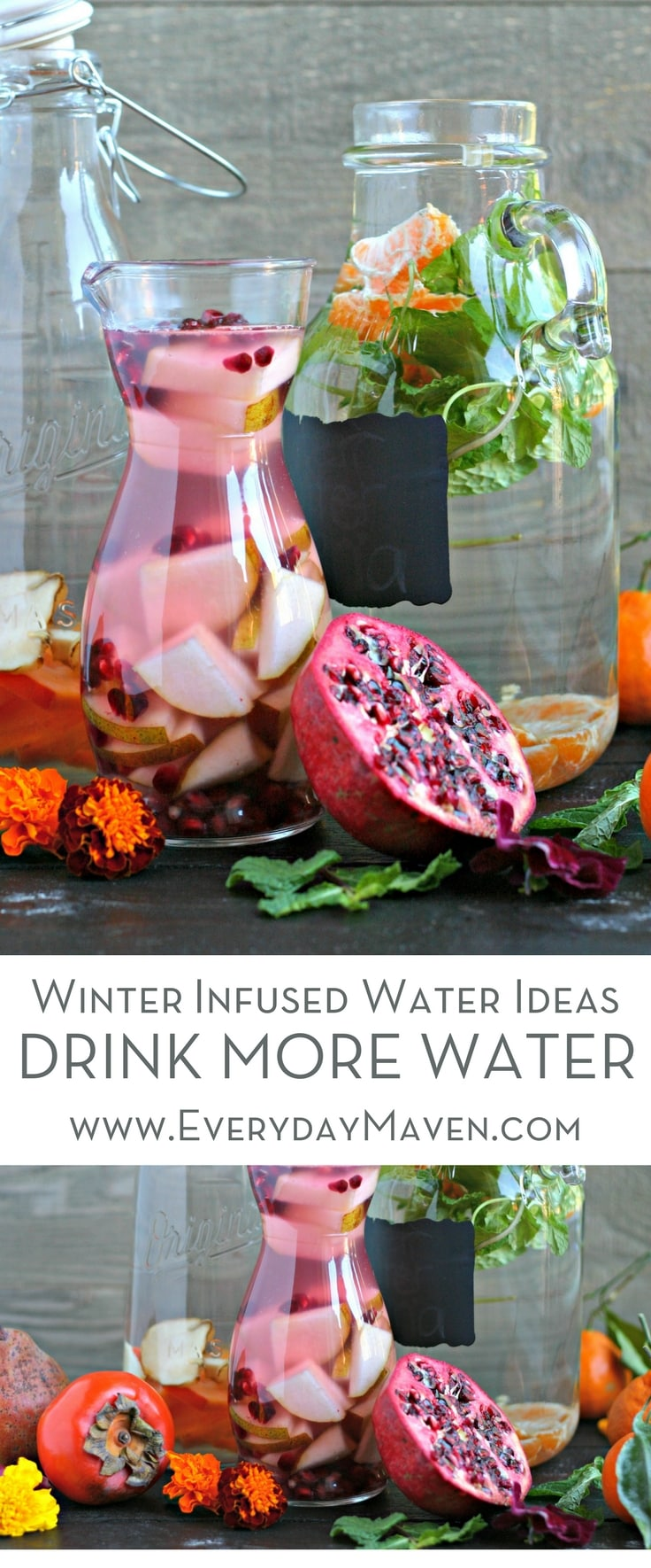 These Winter Infused Water Ideas are a beautiful and delicious way to stay on track and drink enough water in the winter. Perfect for every holiday party! Done in partnership with PUR.