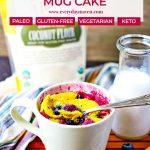 close up of blueberry mug cake