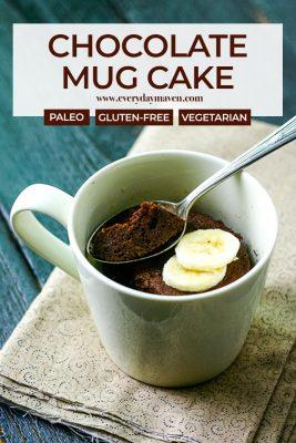close up of chocolate mug cake with sliced bananas and silver spoon