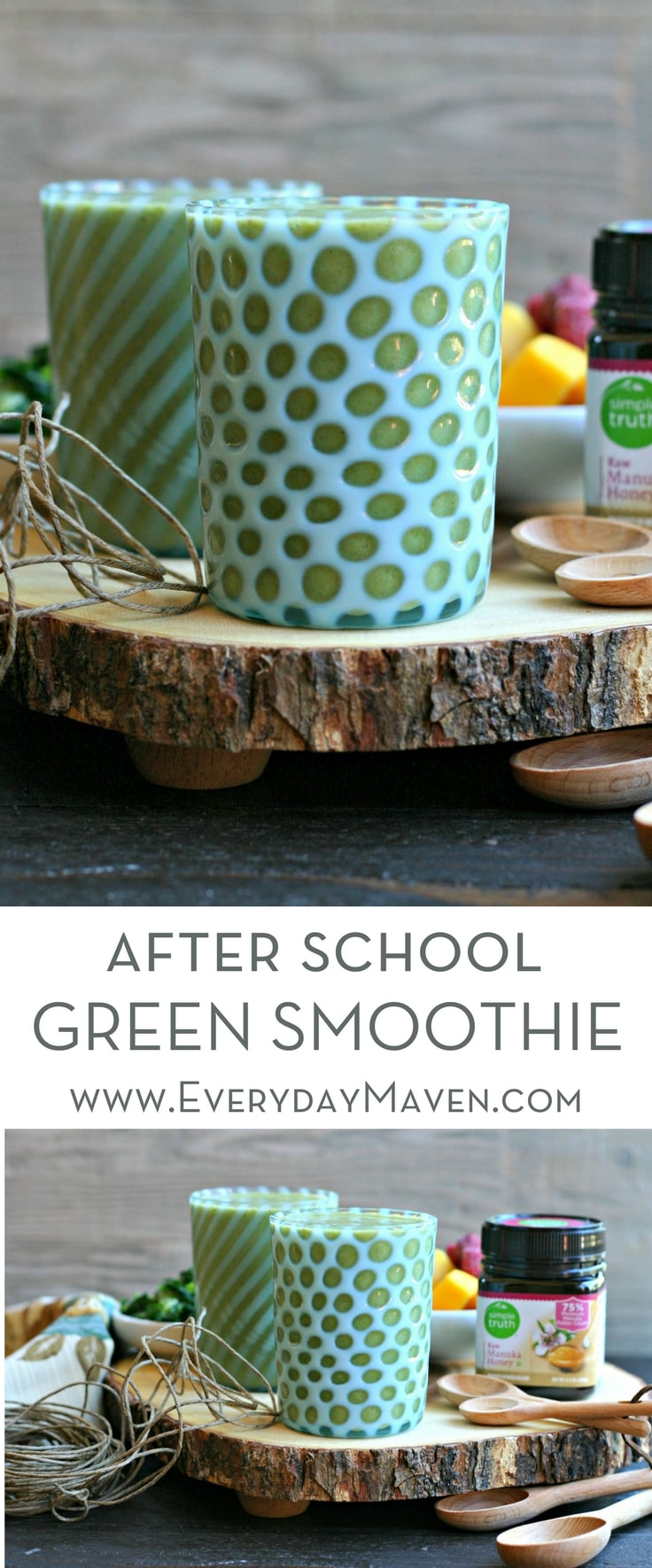 A kale packed green smoothie balanced out with frozen mango, raspberries, a touch of cinnamon and Manuka honey. The perfect After School Green Smoothie that both kids and adults alike will be exited for! Sponsored by QFC