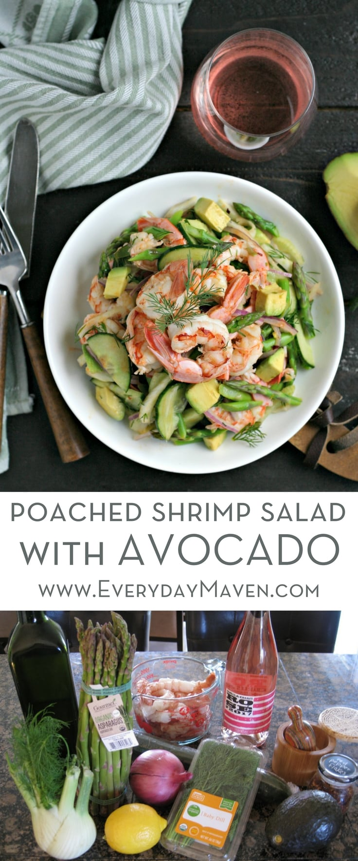 This quick Gluten Free and Low Carb Poached Shrimp Avocado Salad is loaded with Spring Vegetables and a Citrus Dressing. Perfectly paired with Washington State Rose!