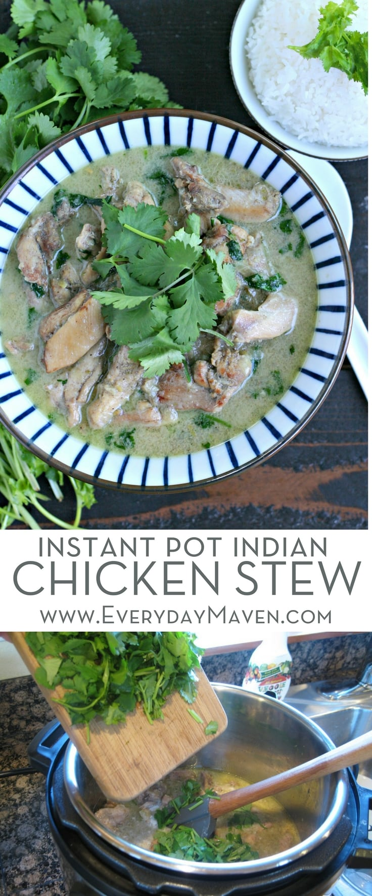 This dairy free Indian Chicken Stew is on the table in under an hour on the stove OR in under 15 minutes in the Instant Pot. Loaded with flavor and excellent served over jasmine rice or cauliflower rice, this is a dish the whole family will love!