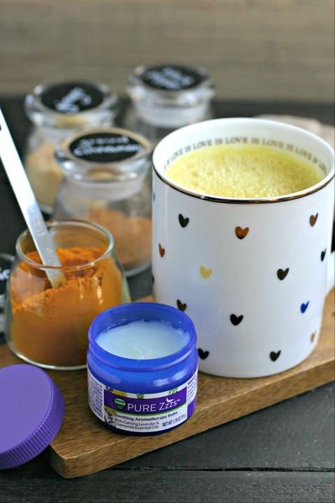 golden milk, spices and aromatherapy balm for sleep help