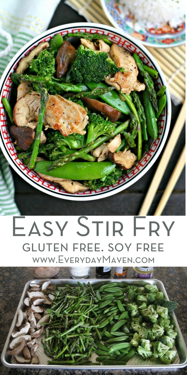 This Easy Chicken Stir Fry is loaded with green veggies and on the table in minutes! GF, Soy Free and Whole30 Friendly. A meal the whole family will LOVE! Made in partnership with @PacificFoods #sponsored #stirfry #wok #chicken