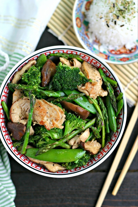 Chicken and Veggie Stir Fry in a Bowl with Chopsticks