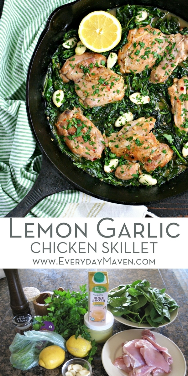 This Lemon Garlic Chicken Skillet with Spinach is a quick and healthy dinner that is so versatile! Made with a handful of ingredients you probably already have in your house. Whole30, Low Carb, Gluten Free and absolutely DELICIOUS!!!