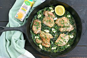 BEST EVER Lemon Garlic Chicken Skillet
