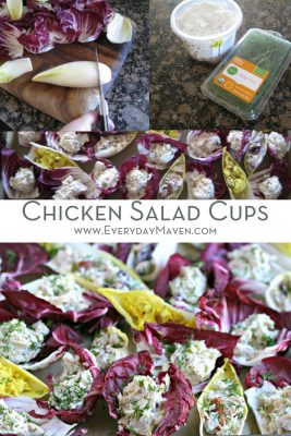 a Pinterest collage of chicken salad cups and ingredients and text