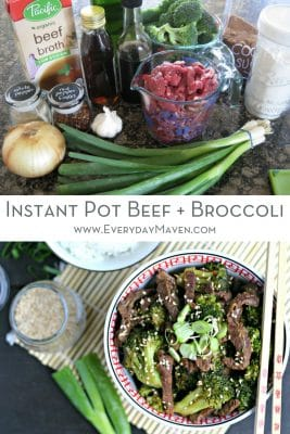 a collage for Pinterest of two photos and text. top photo of ingredients to make Instant Pot Beef and Broccoli. Bottom Photo picture of finished dish ready to eat