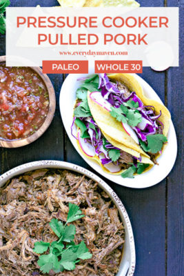 overhead photo of pressure cooker pulled pork, a bowl of salsa and a plate of tacos