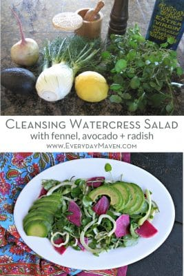 split image of ingredients and plated watercress salad with fennel, avocado, watermelon radish and a light lemon dressing