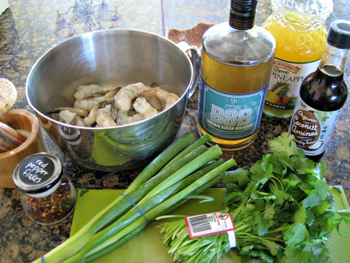 all of the ingredients needed to make Brown Sugar Bourbon Shrimp Skewers