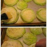 collage of four images depicting the steps to making roasted cabbage steaks