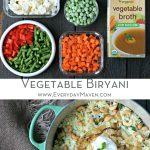 Cut up vegetables and broth and finished Vegetable Biryani