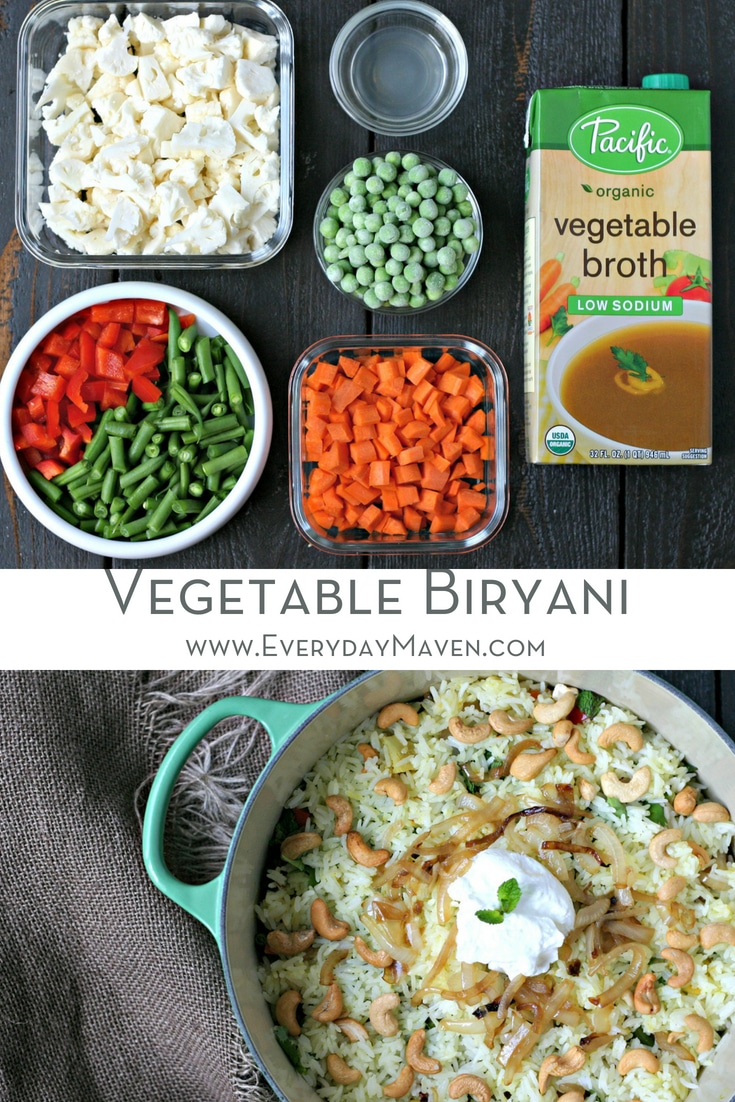 Learn how to make this Vegetable Biryani Recipe with my step-by-step tutorial. Loaded with flavor, tons of colorful vegetables and naturally Gluten Free!   Made in partnership with @PacificFoods  #sponsored #biryani #vegetarian #rice #casserole #IndianFood