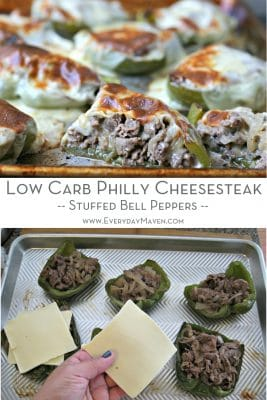 split image of preparing stuffed bell peppers and finished photo of cooked philly cheesesteak stuffed bell pepers