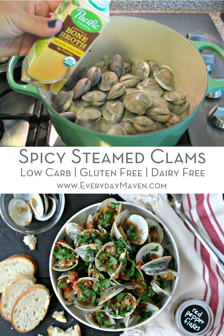 Spicy Steamed Clams Recipe is on the table in under 30 minutes (with lots to spare!). Naturally Gluten Free, Keto and Dairy Free, this recipe is one of the BEST ways to cook steamed clams!  