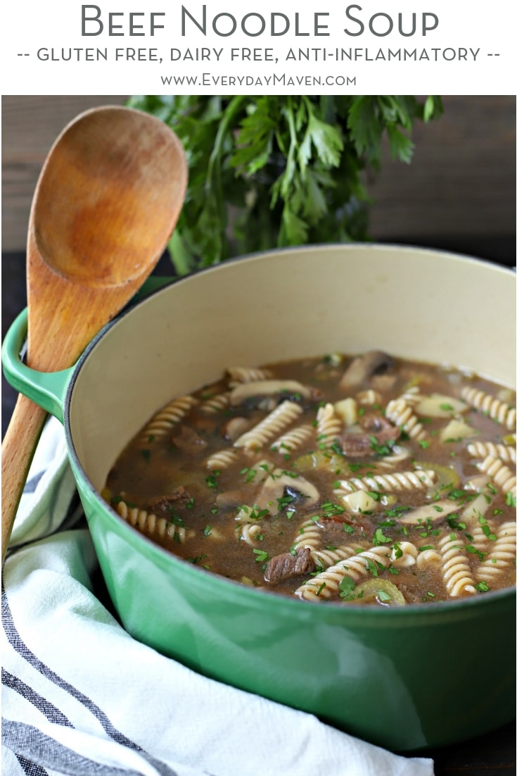 This Beef Noodle Soup Recipe is loaded with whole food ingredients like celery, parsnips, mushrooms, onions and fresh herbs! Gluten Free with Low Carb option.