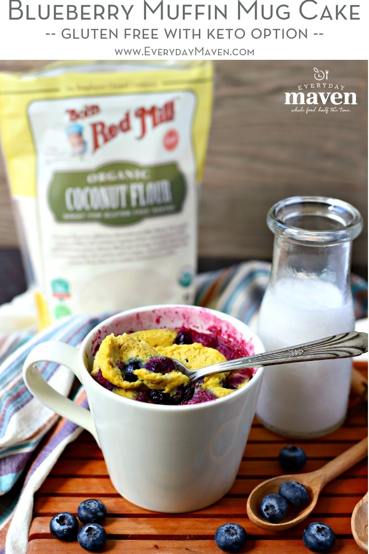 This Single Serving Blueberry Muffin Mug Cake is the healthy answer to your sweet craving! Made with Whole Food ingredients plus a Low Carb option!