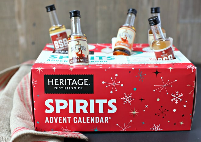 Heritage Distilling Co. Spirits Advent Calender with mini bottles popping out of holes