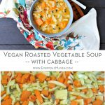 collage with text of roasted vegetable soup and tray of veggies on a baking sheet