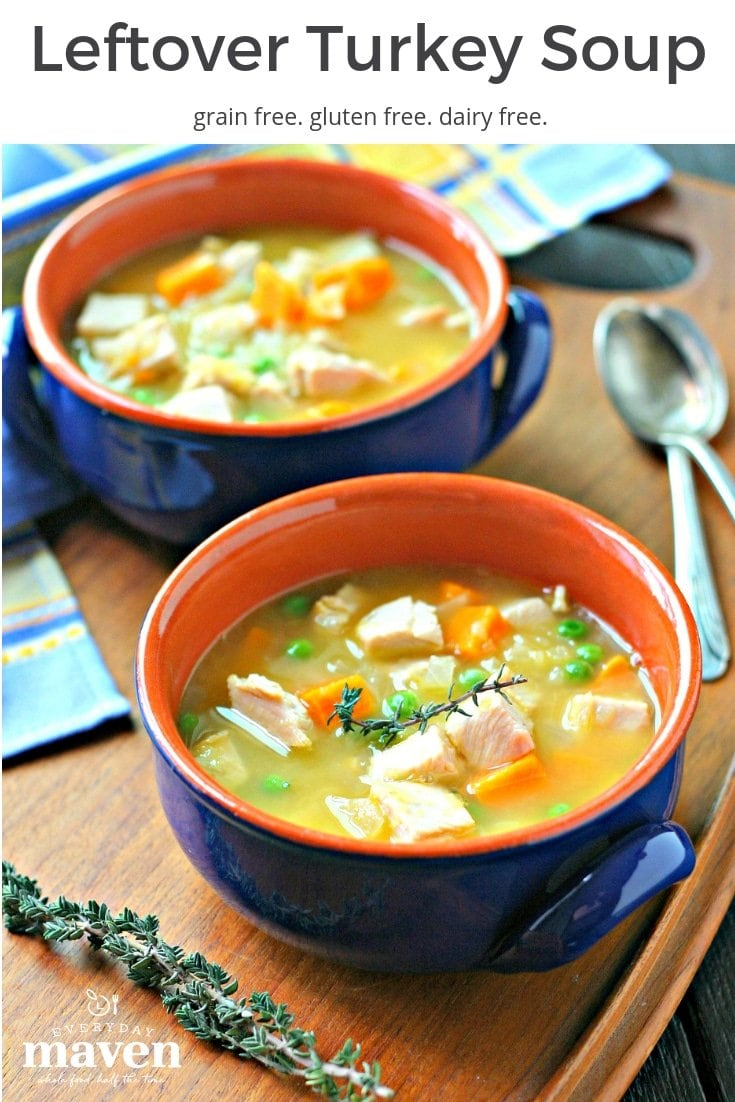 This gluten free Leftover Turkey Soup with Sweet Potatoes and Peas is naturally gluten free and the perfect way to use up that leftover turkey and carcass!