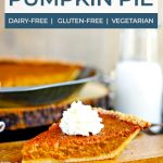 slice of paleo pumpkin pie topped with whipped cream