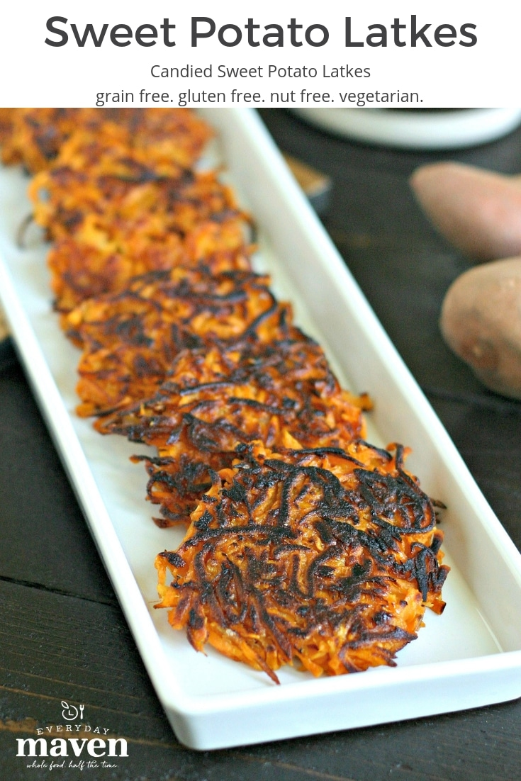 Candied Sweet Potato Latkes. A fun twist on the classic, made with maple syrup, vanilla, a bit of OJ and some coconut sugar. Gluten free and nut free!