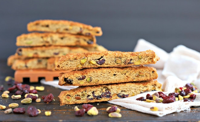 stack of gluten free biscotti with pistachios and cranberries
