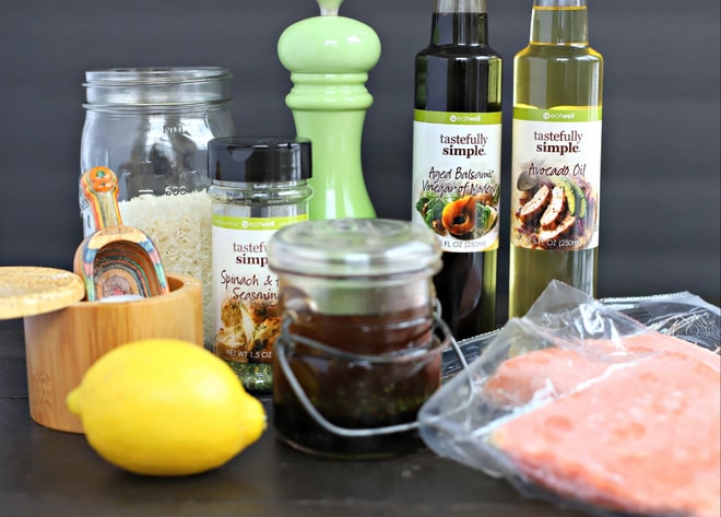 ingredients to make Instant Pot Salmon dinner; frozen salmon, avocado oil, balsamic, lemon, basmati rice, spices and vinaigrette