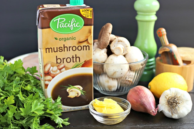 ingredients to make InstantPot Poached Chicken Breast with Creamy Mushroom Sauce