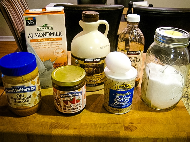 ingredients to make peanut butter mug cake
