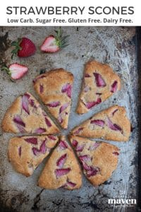 overhead picture of cooked strawberry scones on a baking sheet