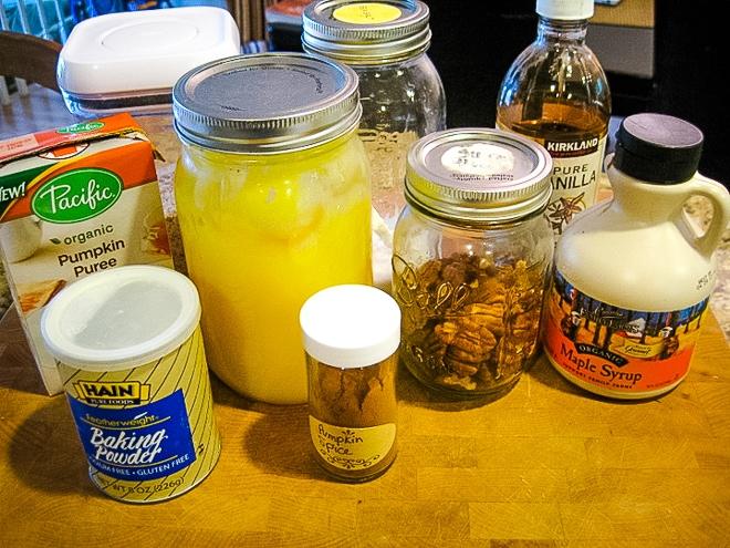 ingredients to make pumpkin mug cake