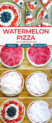 Collage of steps to make watermelon pizza