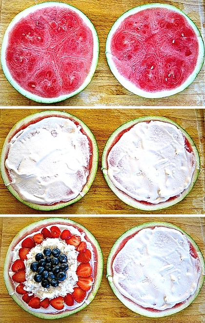 step by step images of assembling watermelon pizza