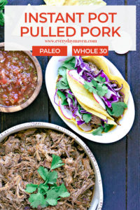 Instant Pot Pulled Pork made into tacos on a white plate