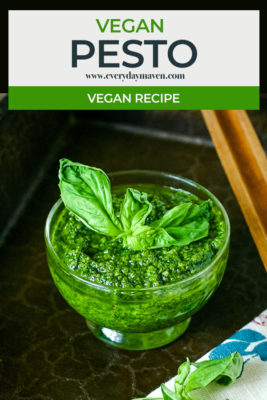 close up of vegan pesto with text for pinterest