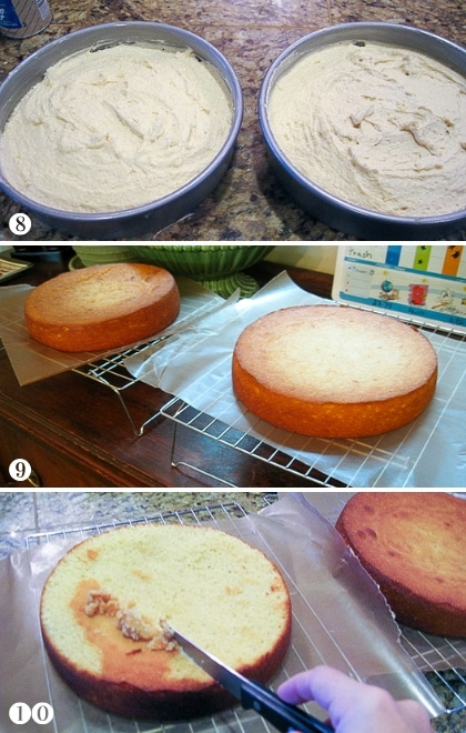 step by step photos of preparing cake layers for frosting gluten free cake