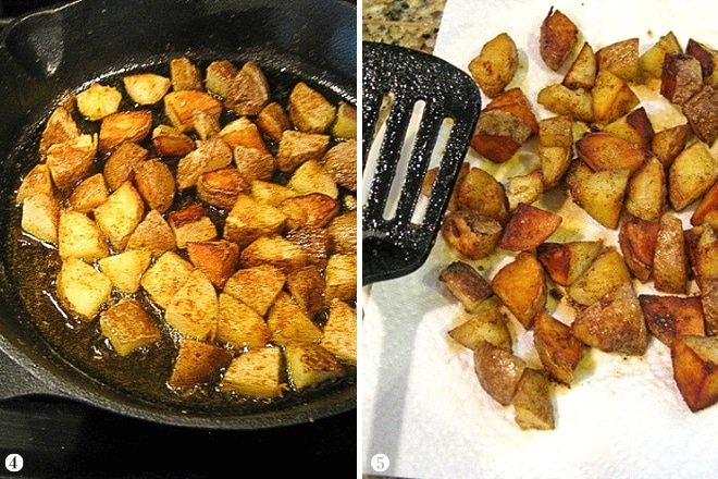 step by step photos of cooking home fries in cast iron skillet