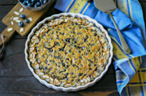 cooked clafoutis with blueberries ready to serve