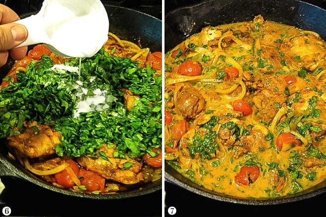 adding chopped spinach and coconut milk to skillet with paprika chicken