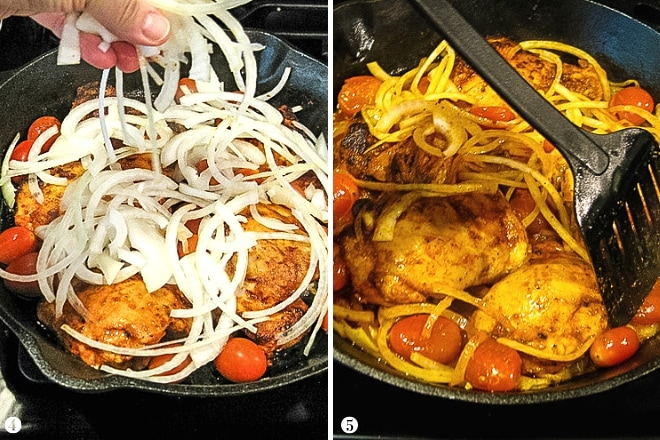 adding raw onions to skillet with paprika chicken