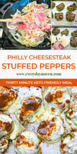 overhead image of melted cheese over philly cheesesteak stuffed peppers and in-process photos