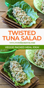 close up of twisted tuna salad recipe made into a collage for pinterest