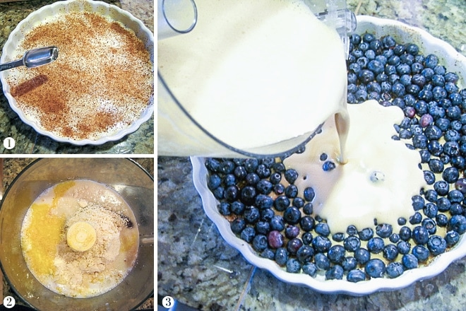 step by step images showing the process to make clafoutis batter